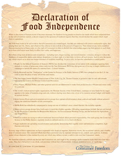 Declaration of food independence center for consumer freedom declaration of food independence because as were telling arizona daily star readers today the pursuit of happiness is a lot harder on an empty publicscrutiny Image collections